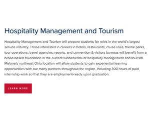 Hospitality Management and Tourism Program at Malone University